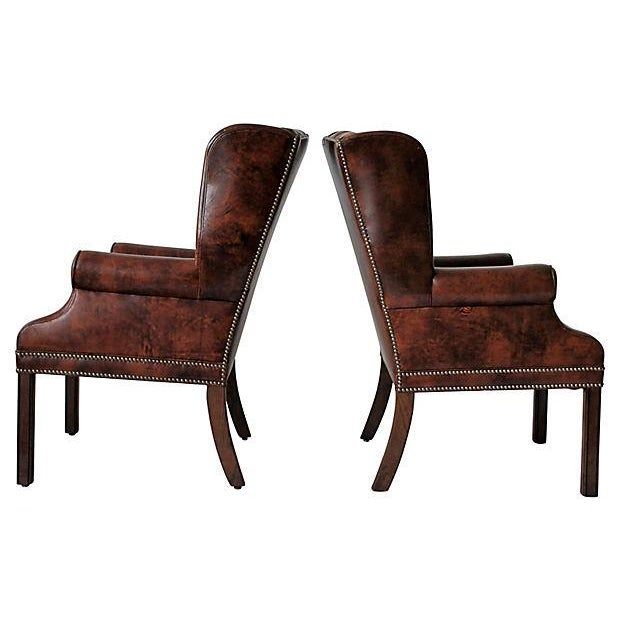 Tufted Leather Wingback Chairs - A Pair - Image 5 of 10