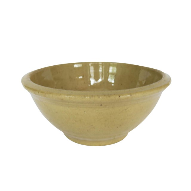Antique Yellow Stoneware Crock Bowl For Sale