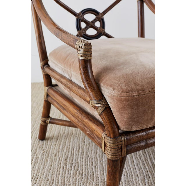 Brown Pair of McGuire Bamboo Rattan Target Lounge Chairs For Sale - Image 8 of 13
