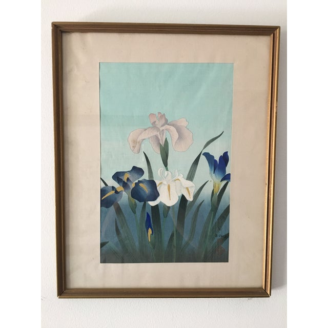 """1949 """"Iris"""" Woodblock Print by Bakufu Ohno, Framed For Sale - Image 10 of 10"""