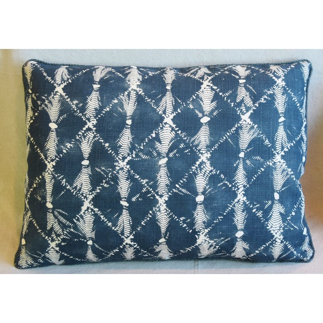 "Abstract Designer Chris Barrett Blue & White Feather/Down Pillows 23"" X 17"" - Pair For Sale - Image 3 of 13"