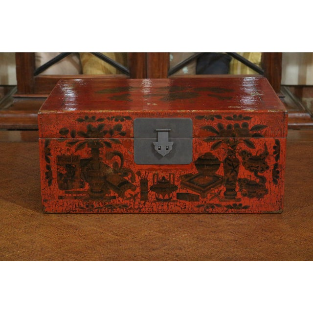 Chinese Red Lacquer Painted Trunk For Sale - Image 9 of 9