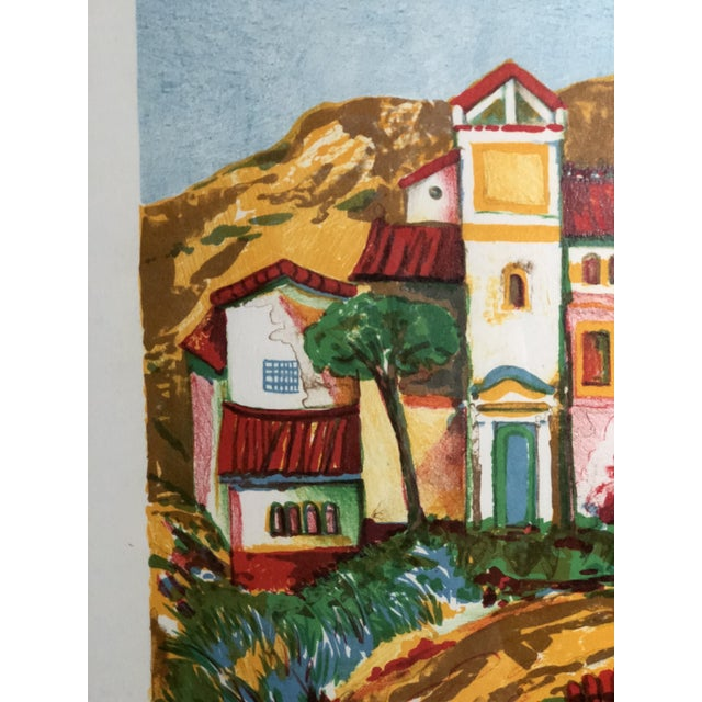 Wood Vibrant Impressionist Retro Framed Print of a Colonial Town For Sale - Image 7 of 11