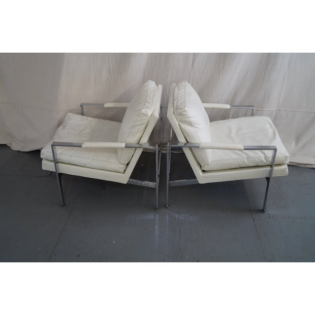 Modern Milo Baughman Chrome Flat Bar Lounge Chairs - Pair For Sale - Image 3 of 10