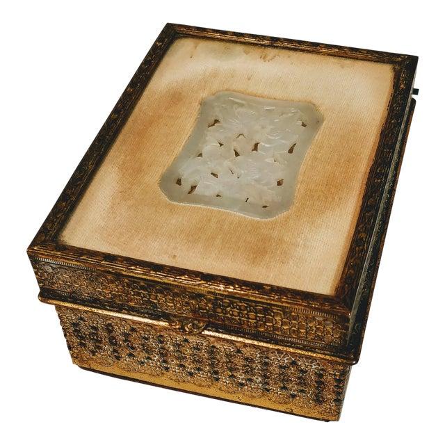 20th Century Chinese Jade Velvet Trinket Jewelry Box For Sale