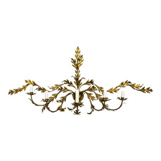 Hollywood Regency Gilded Leaves Sconce For Sale