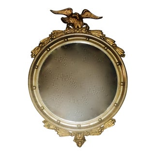 Antique Hand Carved Wood & Gilt Gesso Southern Antebellum Convex Mirror