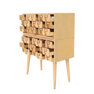 Multi Drawer Vintage All Solid Wood Index Card File Cabinet For Sale