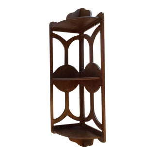 Mid Century Wooden Corner Shelf For Sale