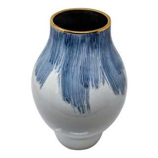 Gold Trimmed Blue and White Hand Painted Vase