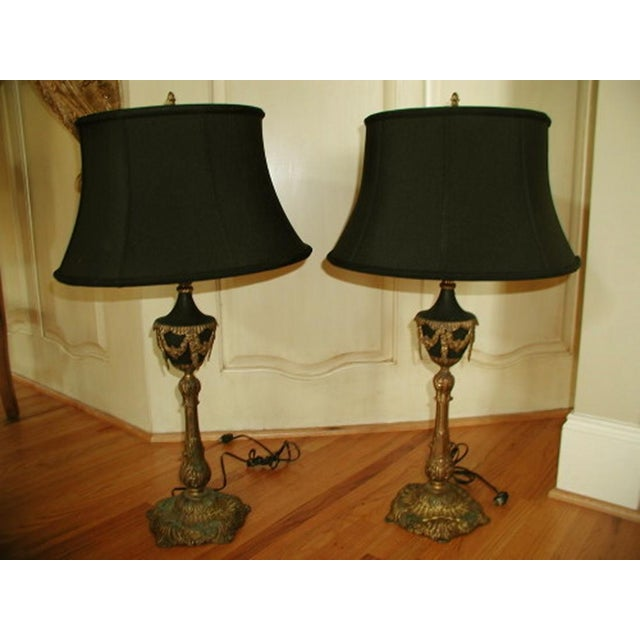 Bronze French Lamps with Silk Shades - A Pair - Image 6 of 10