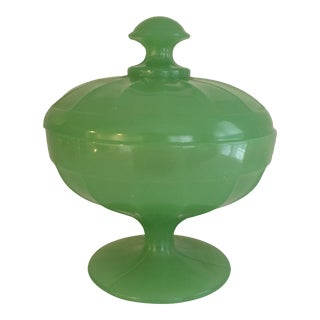 Vintage French Opaline Lidded Pedestal Dish For Sale