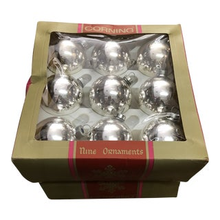 Corning Silver Christmas Ornaments, Set/18 For Sale