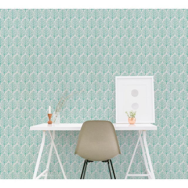 2020s Schumachr x Molly Mahon Tree Wallpaper in Seaglass For Sale - Image 5 of 6