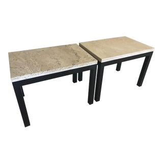 Contemporary Room & Board Limestone and Iron Side Tables - a Pair For Sale