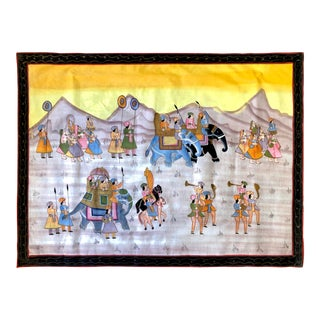 1950s Hand Painted Mid Century Maharaja Royal Procession on Silk For Sale