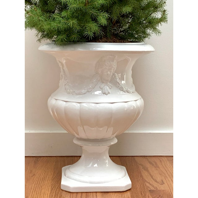 1970s Vintage Neoclassical White Glazed Stoneware Planter For Sale - Image 4 of 12