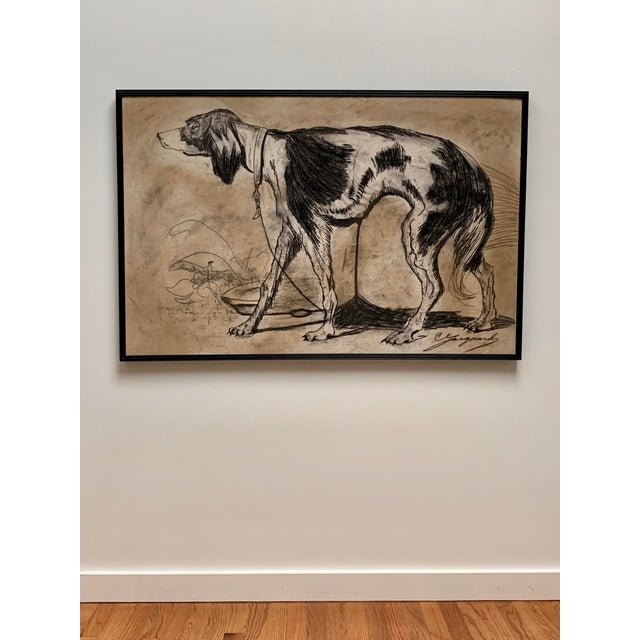 Oversized ca. 1950s original charcoal drawing of a dog with a trailing leash and water bowl sourced from a Paris flea...
