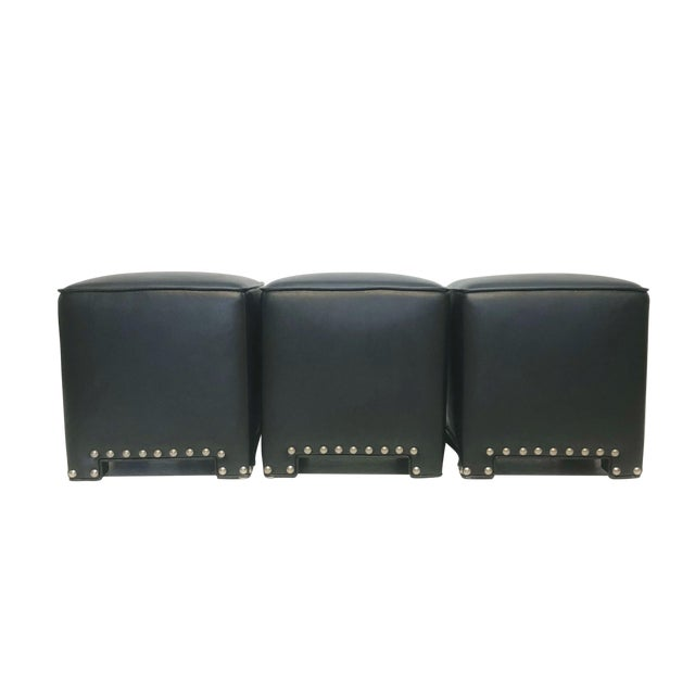 Super Set Of 3 Black Faux Leather Ottomans Chairish Bralicious Painted Fabric Chair Ideas Braliciousco