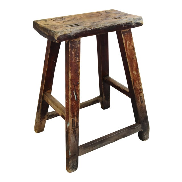 Rustic Primitive Country Wood Farmhouse Stool - Image 1 of 11