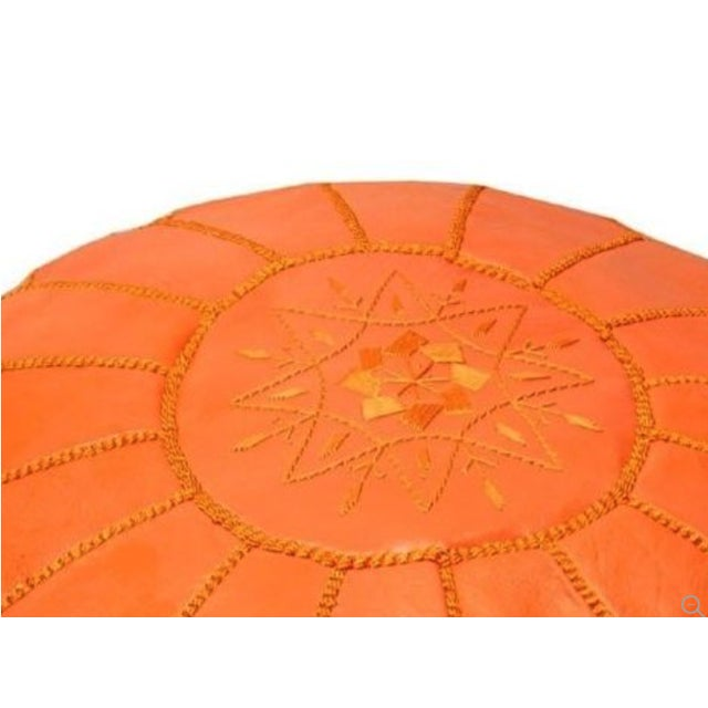 Handmade Moroccan Leather Pouf Authentic Ottoman - Image 2 of 3