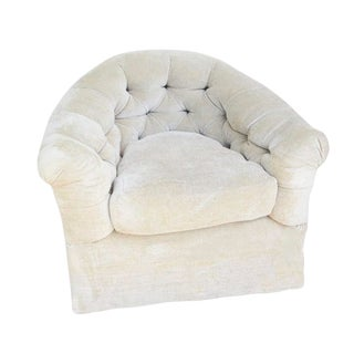 Ivory Chenille Tufted Overstuffed Bucket Style Side Chair