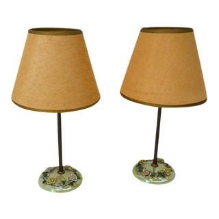 Czech Lustreware Candlestick Lamps - a Pair For Sale