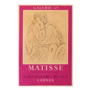 1955 Original Exhibition Poster, Galerie 65, Matisse, Drawings and Rare Engravings For Sale