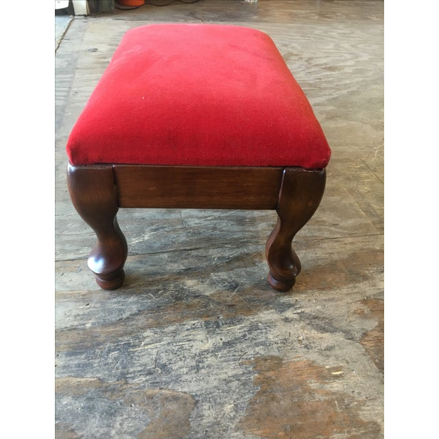 Vintage Red Upholstered Foot Stool - Image 3 of 8