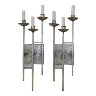1960s Brutalist Sconces Hammered Silvered Metal Appliques - a Pair For Sale