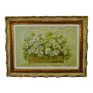 Vintage Framed Giclee on Textured Board White Floral Bouquet by Blum For Sale