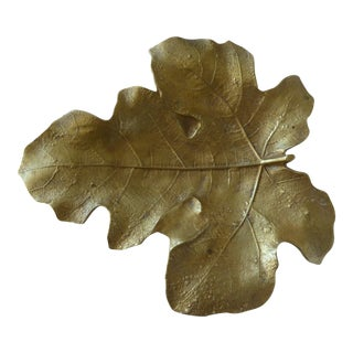 Vintage Gold Fig Leaf Dish For Sale