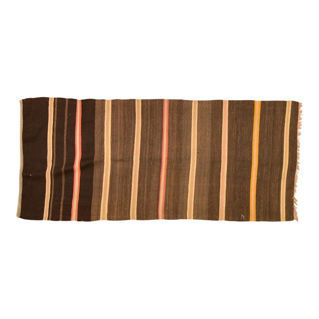 """1950s Turkish Brown and Burnt Orange Wool Kilim Rug - 2'3""""x5'3"""" For Sale"""