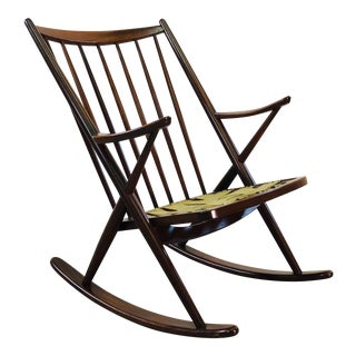 Danish Modern Rosewood Rocking Chair by Frank Reenskaug for Brahmin Mobler For Sale