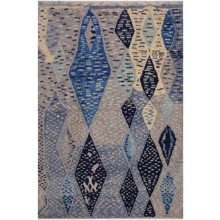 Moroccan Wilford Gray/Ivory Wool Rug - 7'9 X 10'3 For Sale