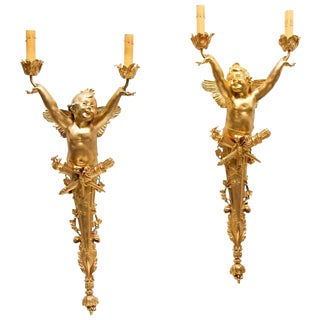 Mid 20th Century Bronze Dore Two-Light Sconces With Joyous Putto - a Pair For Sale