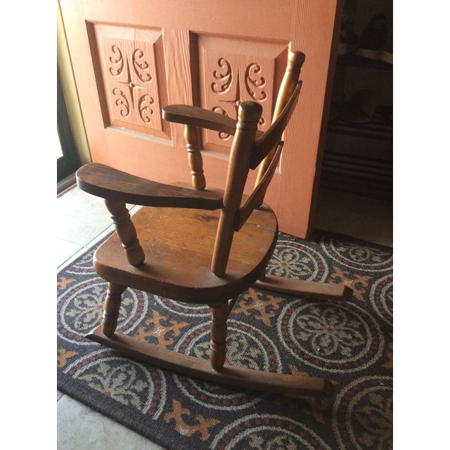 American 1970s Vintage Children's Wooden Rocking Chair For Sale - Image 3 of 7