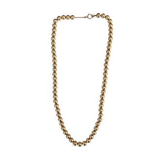 Victorian 14k Gold Hollow Bead 17″ Necklace For Sale