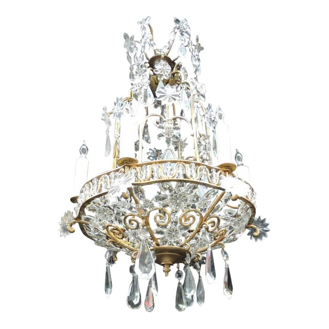 Early 20th C French Bronze Crystal Chandelier, attributed to Maison Baguès For Sale