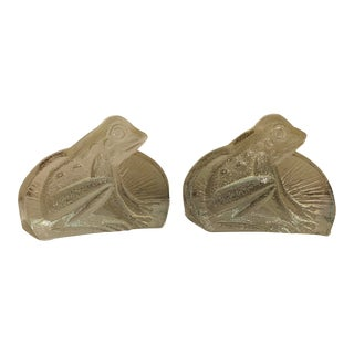 Vintage Blenko Glass Frog Bookends - a Pair For Sale