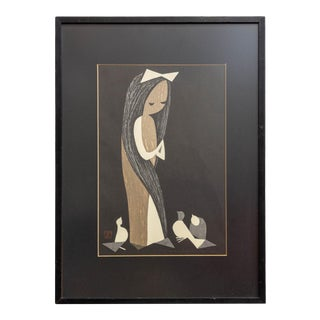 """Signed """"Girl With Doves"""" Japanese Woodblock Print by Kaoru Kawano Framed For Sale"""