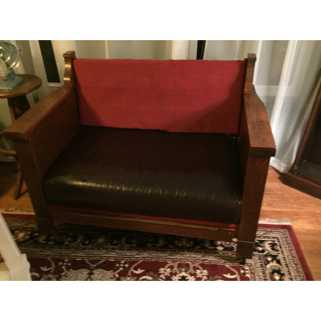 Mission Style Dark Oak Loveseat - Image 9 of 10