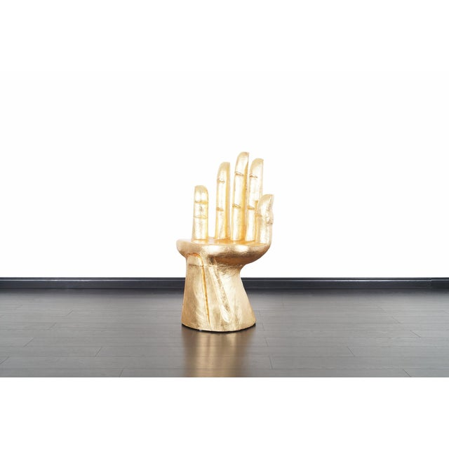 Wood 1960s Vintage Sculptural Gold Leaf Hand Chair After Pedro Friedeberg For Sale - Image 7 of 12