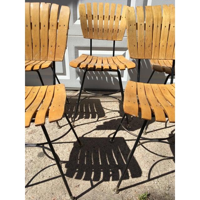 Arthur Umanoff Slatted Wood & Iron Chairs - Set of 30 For Sale - Image 11 of 13