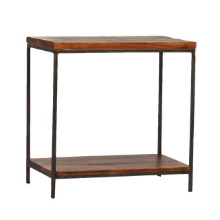 Reclaimed Wood & Iron Side Table For Sale
