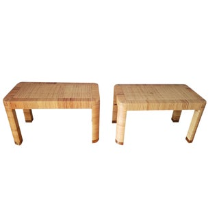 Mid-Century Modern Bielecky Brothers Rattan Side Tables - a Pair For Sale