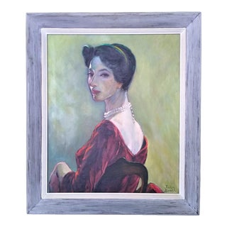 """Mid 20th Century """"Portrait of a Lady"""" Oil Painting, Framed For Sale"""