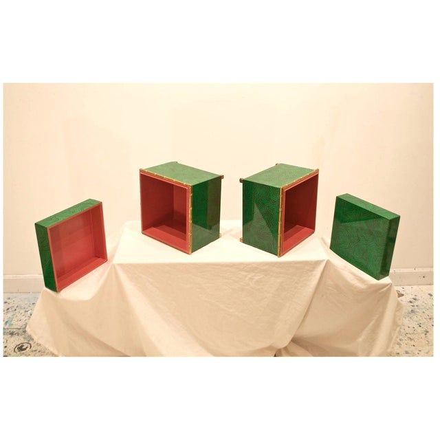 Metal Faux Malachite Boxes - a Pair For Sale - Image 7 of 11