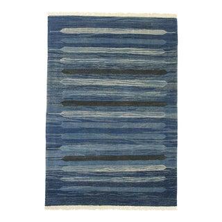 Rug & Relic Blue Bars Kilim Flatweave | 4' X 5'8