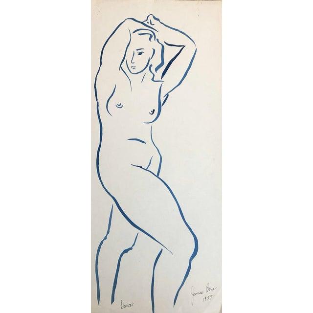 1957 Dancer Modern Drawing by James Bone For Sale